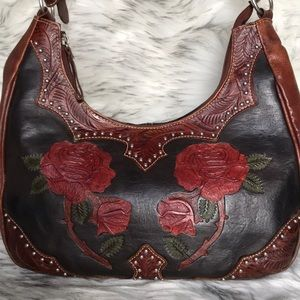 American West tooled roses leather handbag studded